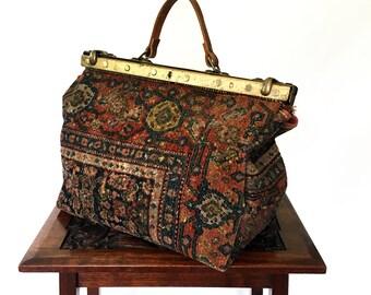Antique Gladstone Carpet Bag