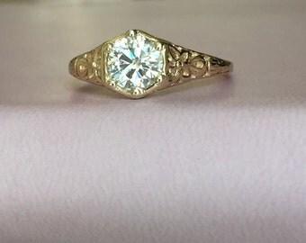 Gold Filigree Diamond Ring