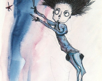 Original illustration of a strange man who shows the stars on a background of blue and pink watercolor, stars in the sky, ink