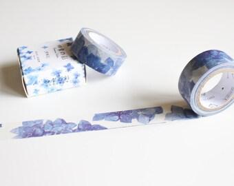 Blue Flower Washi Tape,  Floral Washi tape,  Blue Pretty Watercolour Masking Tape (FL-109)