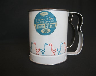 Vintage Androck Flour Sifter White with Red & Blue Ducks Geese