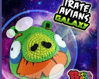 """Mustachioed """"Sorry Swine""""  stuffed plush crochet toy"""