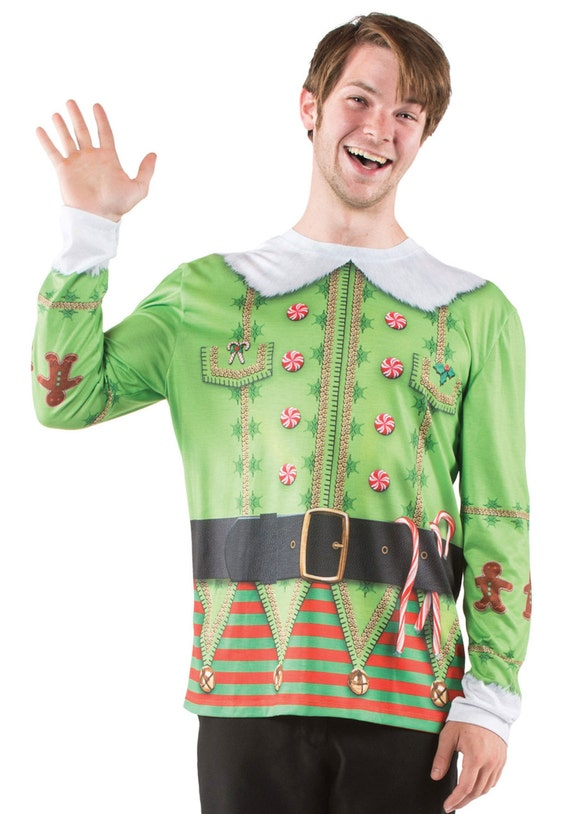 Green Elf elves toy maker Santa Claus Suit belt north pole party holly jolly ho ho ho eve ugly tacky Christmas sweater costume movie t shirt