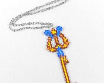 Three Wishes Keyblade Necklace - Keyblade Necklace Aladdin Keyblade Necklace Kingdom Hearts Jewelry Pixel Necklace Video Game Necklace