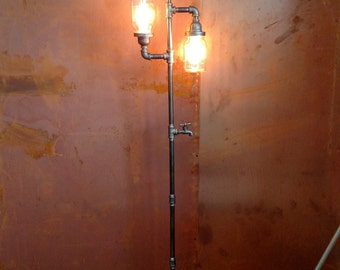 Pipe Floor Lamp 3-fixture Living Room Steampunk Mason Jar DOES NOT include bulbs