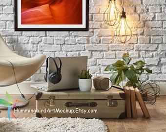 Framed Photo Art Mockup Template Styled Stock Photography Artist Loft Office Landscape