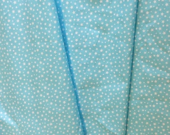 High quality cotton poplin dyed in Japan with stars, light turquoise (sky blue)