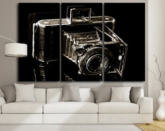 Large Wall Art Vintage Camera Canvas Print / Large Old Camera Wall Art / Living Room Panel Art / Canvas Print / Vintage  / Old Lens