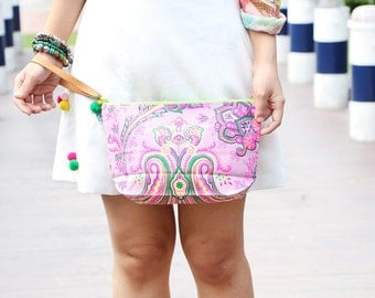 Beautiful Soft Pink Clutch Printed Fabric With Leather Strap