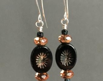 Black Czech Glass Earrings