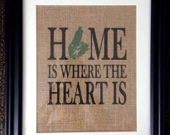 Cape Breton Burlap Print - Home is where the Heart is