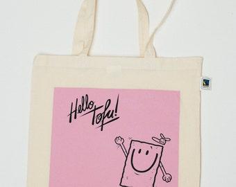 Hello tofu fairtrade & organic pink Totebag