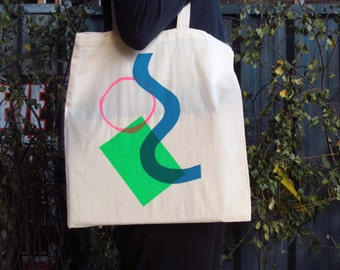 Colourful Hand Screen Printed Tote Bag