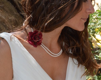 Preserved flowers necklace Capucine for your wedding - flower necklace