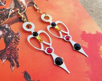 Heart Half Clock Hand Earrings, Clock Hand Earrings with Swarovski Rhinestones, Clock Hand Earrings, Rhinestone Earrings, Firey Earrings
