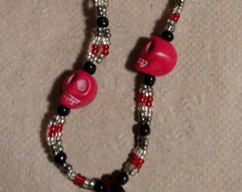Red skull and seedbead necklace