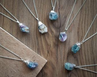 Pendant in fluorite, mineral, fluorite necklace, pendant pendant fluorite