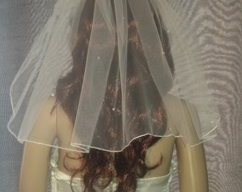 "20"" Ivory bridal wedding veil with Swarovski Crystals 1 tier. Up do hair style. FREE UK POSTAGE"