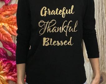 womens Thanksgiving shirt, GRATEFUL THANKFUL BLESSED, Thanksgiving shirt, womens glitter Thanksgiving shirt. thankful shirt