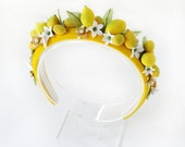 DOLCE VITA - handmade lemon headband, fruit headpiece, yellow headband, yellow hair accessories, high fashion headpiece, floral headdress