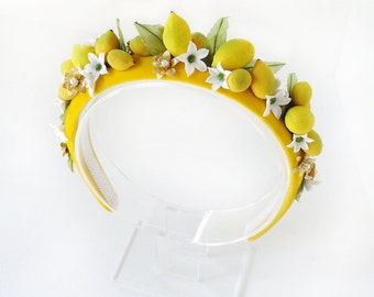 DOLCE VITA- handmade lemon headband, womens headbands, yellow headband, fruit headpiece, yellow hair accessories, high fashion headdress,