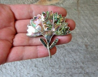 vintage abalone shell brooch, Alpaca Mexico jewelry . abalone flower brooch pin . shell inlay brooch