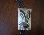 Summer Sale Native American Eagle Bolo Tie Bennett Turquoise Chip Inlay Cowboy Indian