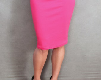 READY TO SHIP Limited Edition Hot Pink Knit Pencil Skirt
