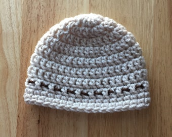 Baby  Hat , 0-3 month Linen Color Beanie, Boy or Girl tan hat, photo prop, Infant crochet Hat, Ready to Ship Baby Gift