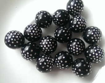 16mm Black with Silver Spots Round Acrylic Beads 15pcs
