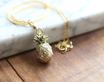 Golden Brass Pineapple Charm Necklace | Summer Outdoors Jewelry