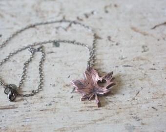 i heart Canada - copper necklace - canada necklace - love canada necklace - canadian necklace - maple leave necklace - canada jewelry