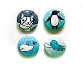 Blue Buttons Set Blue ANIMALS buttons 1 inch buttons by boygirlparty - animal badges pinback button badge