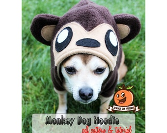 Dog Monkey Hoodie Costume MED - XL Pdf Pattern and full tutorial
