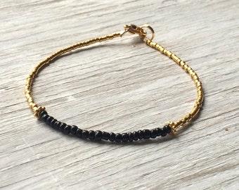 Minimal Bracelet - layering bracelet - simple bracelet - gold and black beaded bracelet 7.25 inches
