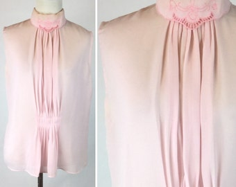 Vintage Light Pink Sleeveless Top, Sheer Pastel Foldover Collar Embroidered Flowers and Cutouts, Pleated Down Front, Keyhole Back, Med Large