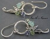 Sterling Silver, Gemstone, & Seahorse Dangle Earrings