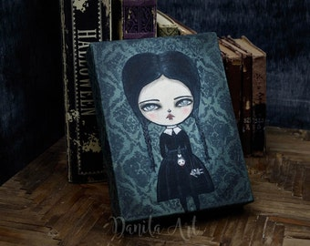 Wednesday Addams, an original mixed media Halloween painting by Danita Art