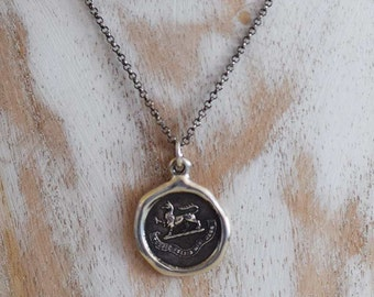 Gryphon Wax Seal Pendant - God is my tower of strength - 180