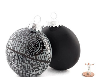 Zentangle Death Star Wars  Ornament - Plastic Disc Painted Inside in Silver Gray and Outside Black - Pet Child Safe - Christmas Decor