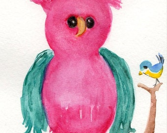 Owl watercolor painting, Bird and Owl Art, Nursery Decor, Green and pink owl with  little bird