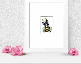 Boston Terrier Dog Bee Original Art Matted ACEO