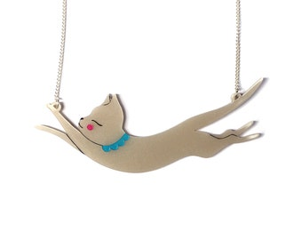 Jumping Cat Necklace- Pearlescent hand painted acrylic laser cut illustration - cat jewellery jewelry