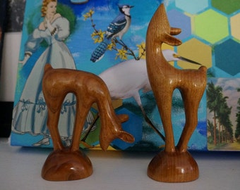 Vintage Deer Bambi Fawn Decor Home Living Decor Housewares Vintage Decor Retro Art Collectibles Wooden Figurines Knicknacks Nursery Decor