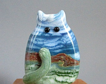 Handmade Lampwork Focal Glass Cat Bead - Tanner FatCat - Landscape Focal