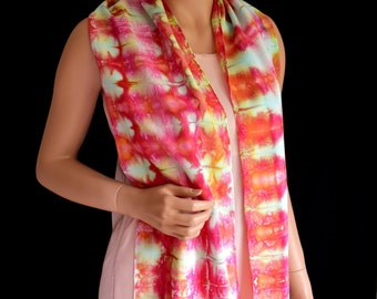 Scarf Hand Dyed Pink Orange Bronze Purple White Bright Bamboo Rayon
