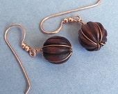 Wooden Copper Wrap Drop Earrings
