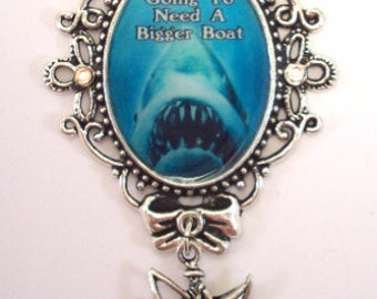 Jaws of Death NEED A BIGGER BOAT Cameo Charm Necklace