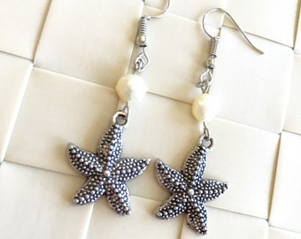Big Sea Star Fresh Water Pearl Silver-plated Earrings, Beach Earrings, Star Fish Earrings, Beach Wedding Jewelry, Christmas Gift