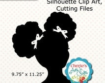 Afro Puffs Little Girl Silhouette Little Girl Silhouette, SVG Cutting Files, African American Girl Silhouette, Digital Scrapbooking Elements